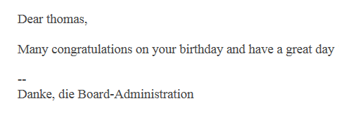 E-Mail on Birthday - Geburtstagsmail