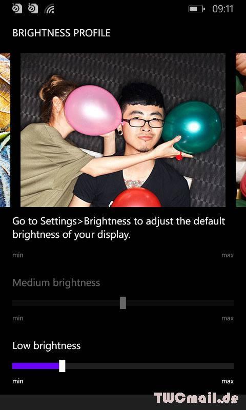 Nokia Lumia Cyan Update - Bildschirmhelligkeit