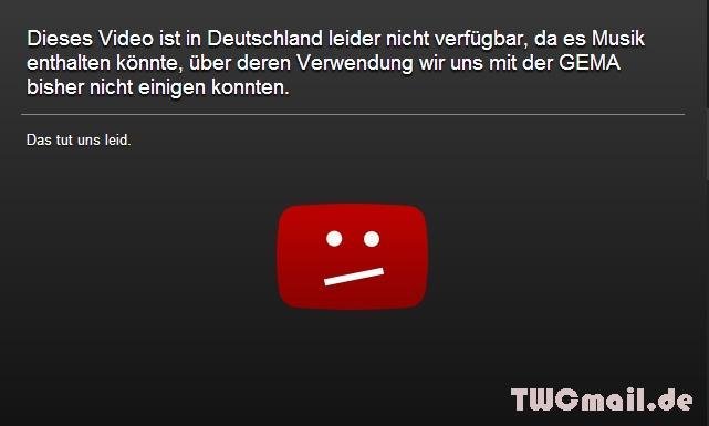Neue Youtube GEMA Sperrtafel