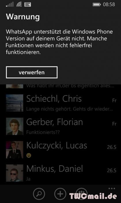WhatsApp nicht für WP 8.1